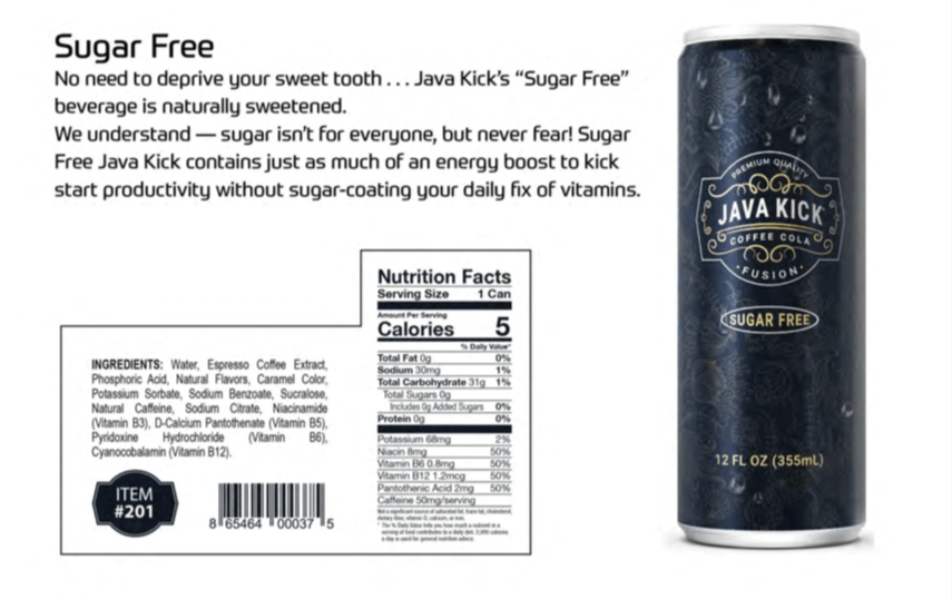 Java Kick sugar free flavor